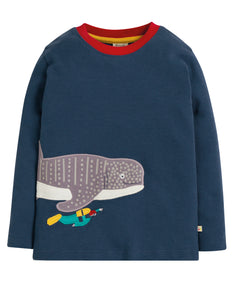Frugi Joe Applique Top - Space Blue/Whale Shark - Tilly & Jasper