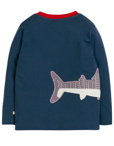 Image of Frugi Joe Applique Top - Space Blue/Whale Shark - Tilly & Jasper