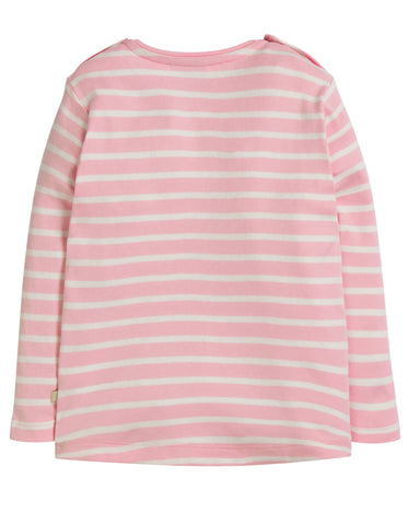 Image of Frugi Louise Pocket Top - Soft Pink Breton/Unicorn
