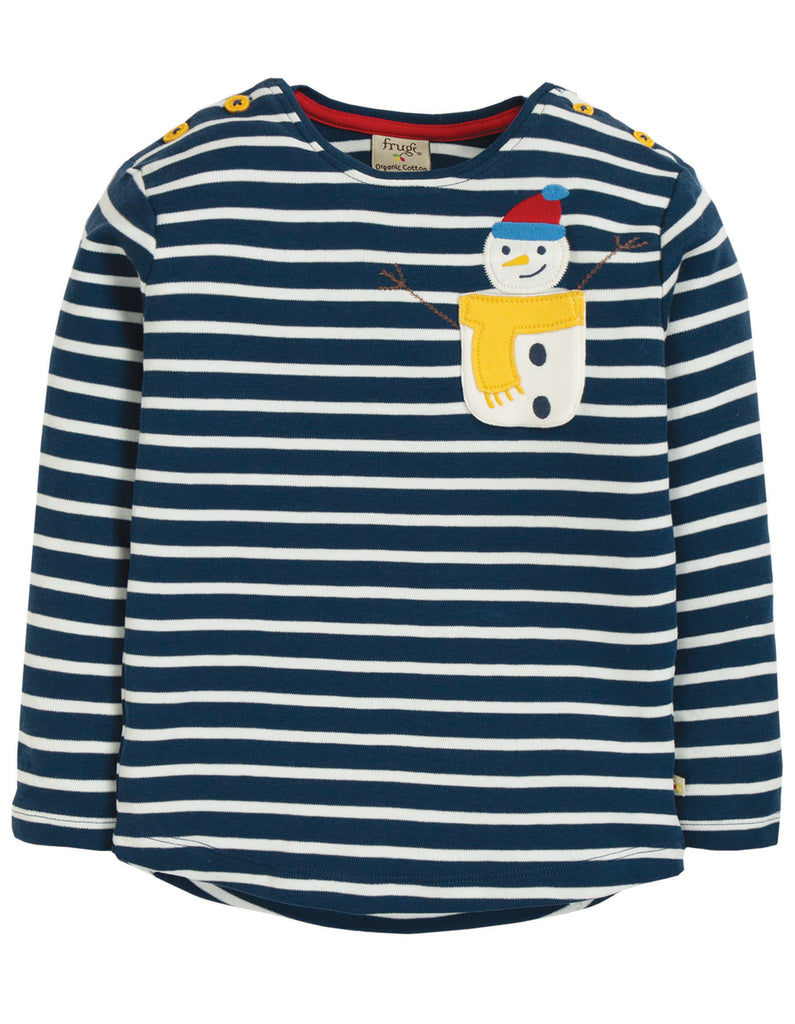 Frugi Louise Pocket Top - Space Blue Breton/Snowman