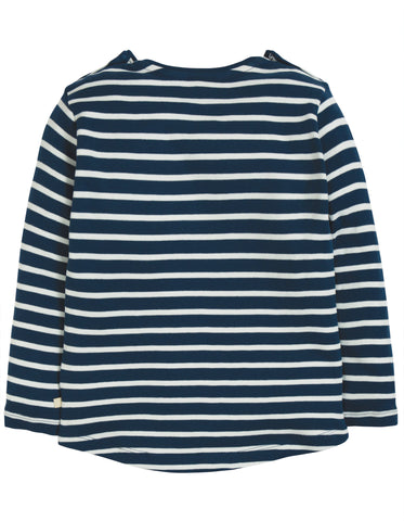 Image of Frugi Louise Pocket Top - Space Blue Breton/Snowman