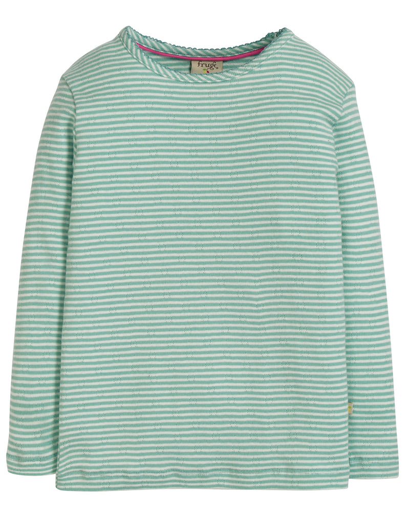 Frugi Mia Pointelle Top - Topaz Blue Pointelle - Tilly & Jasper