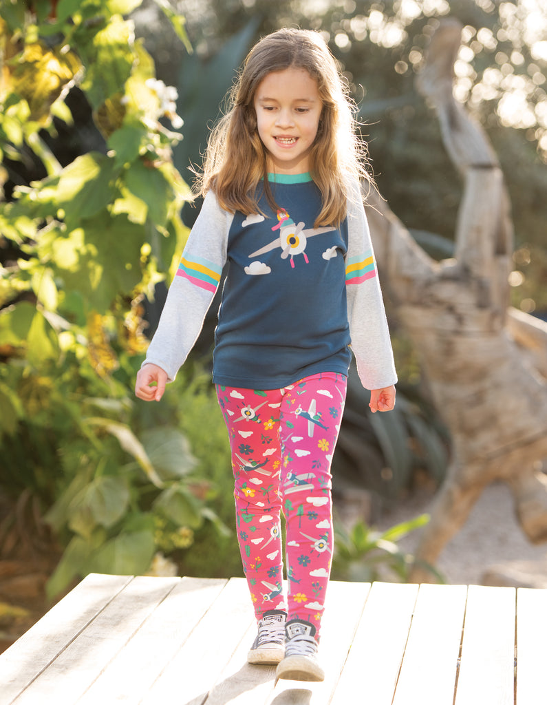 Frugi Rainbow Raglan Top - Space Blue/Pilot
