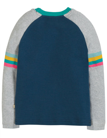 Image of Frugi Rainbow Raglan Top - Space Blue/Pilot