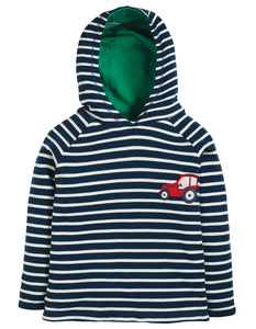 Frugi Reversible Hooded Top - Space Blue Breton/Tractor