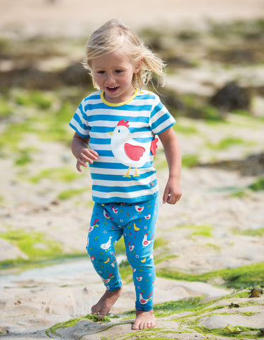 Frugi Arden Applique Top - Motosu Blue Stripe/Chicken