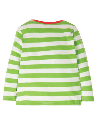Frugi Bobby Applique Top - Kiwi Stripe/Deer