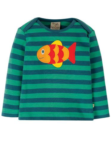 Image of Frugi Bobby Applique Top - Pacific Aqua Stripe/Fish