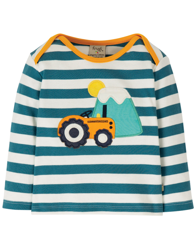 Frugi Bobby Applique Top - Steely Blue Stripe/Tractor