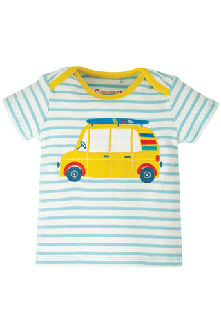 Image of Frugi Bobster Applique Top - Bright Sky Breton/Car