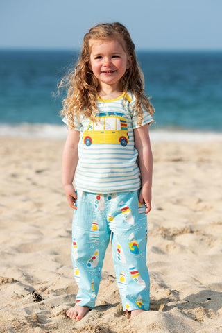 Frugi Bobster Applique Top - Bright Sky Breton/Car