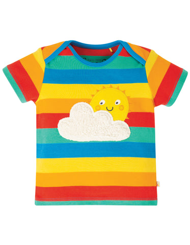 Frugi Bobster Applique Top - Rainbow Multi Stripe/Sun