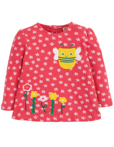 Frugi Connie Applique Top - Watermelon Cherry Blossom/Bee