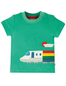 Frugi Cooper Top - Pacific Aqua/Train