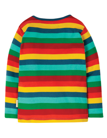 Image of Frugi Favourite L/S Tee - Steely Blue Multi Stripe