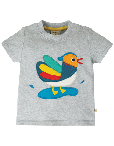 Frugi Little Creature Applique T-shirt - Grey Marl/Duck