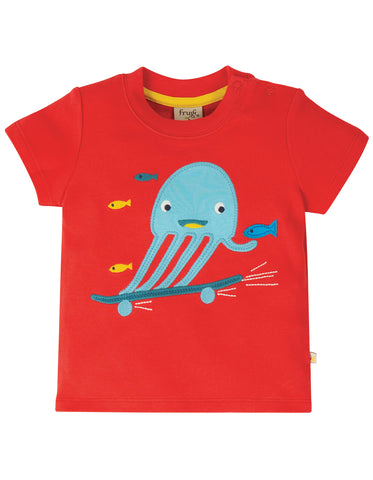 Image of Frugi Little Creature Applique Top - Koi Red/Jellyfish
