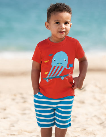 Frugi Little Creature Applique Top - Koi Red/Jellyfish