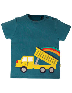 Frugi Scout Applique Top - Steely Blue/Truck