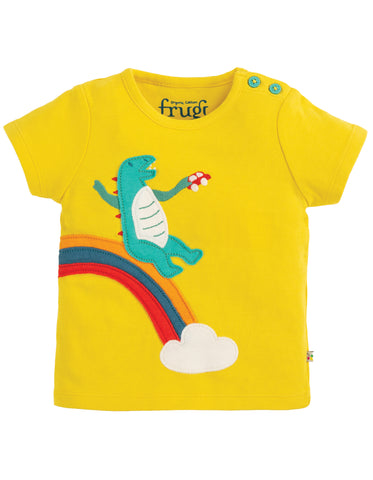Frugi Scout Applique Top - Sunflower/Dino