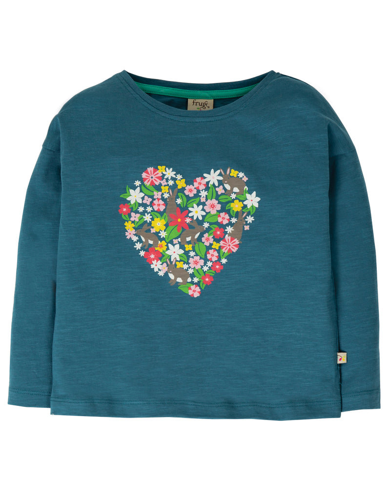 Frugi Bethany Boxy Top - Steely Blue/Heart