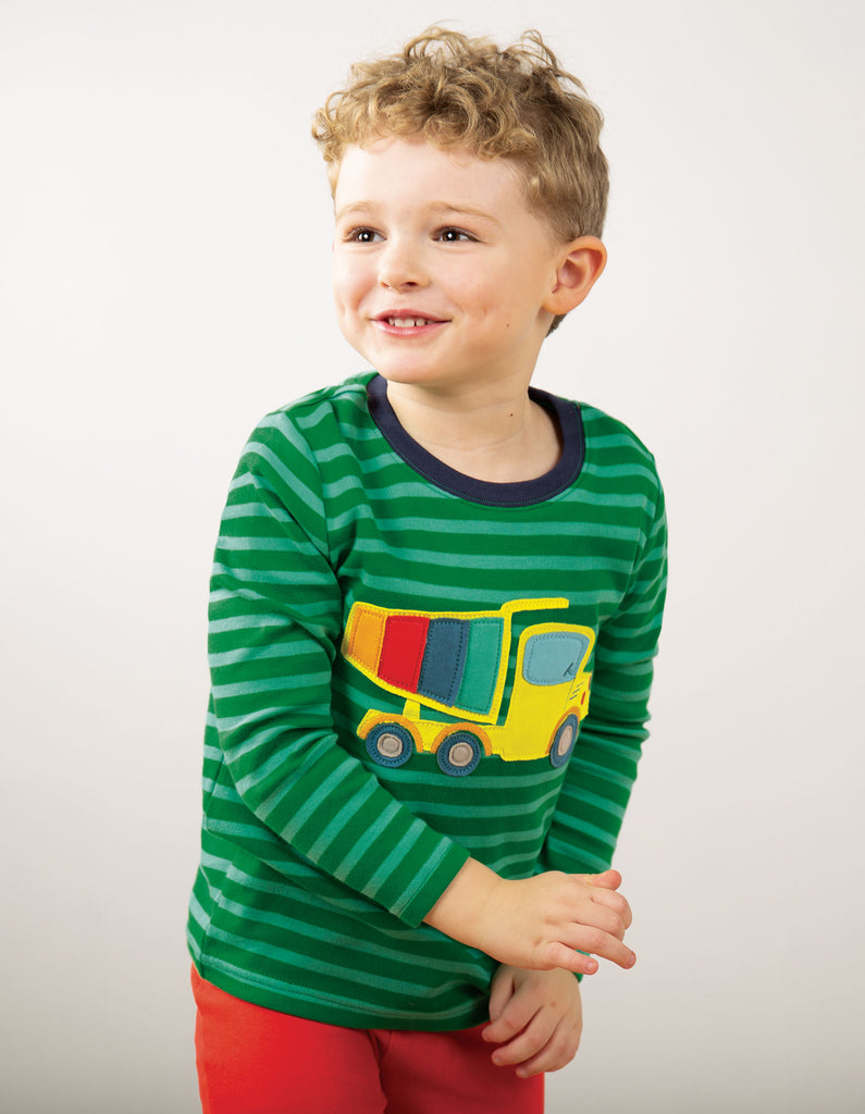Frugi Discovery Applique Top - Ribbit Green Stripe/Truck
