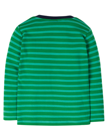 Image of Frugi Discovery Applique Top - Ribbit Green Stripe/Truck