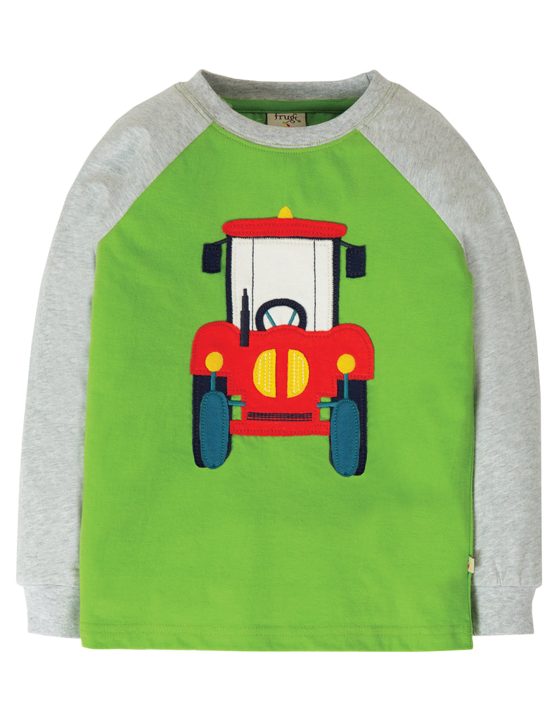 Frugi Jake Applique Top - Kiwi/Tractor