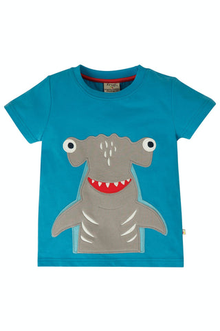 Image of Frugi James Applique T-Shirt - Motosu Blue/Shark