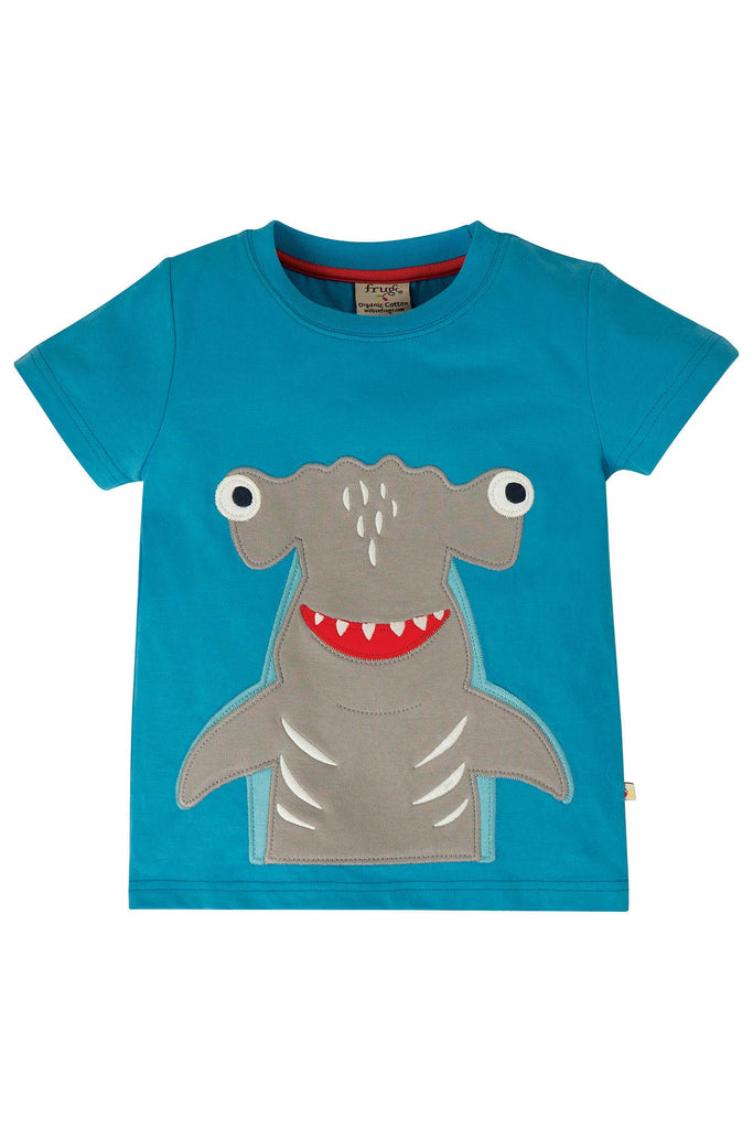 Frugi James Applique T-Shirt - Motosu Blue/Shark