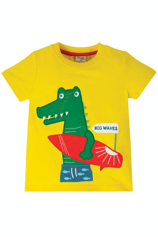 Image of Frugi James Applique T-Shirt - Sunflower/Croc