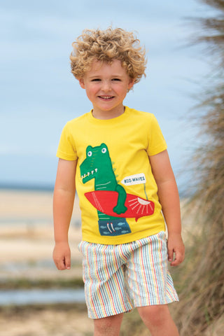 Frugi James Applique T-Shirt - Sunflower/Croc