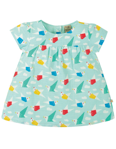 Image of Frugi Meg Muslin Top - Aqua Origami Flight