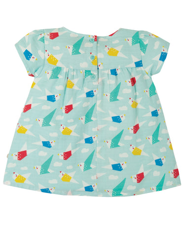 Frugi Meg Muslin Top - Aqua Origami Flight