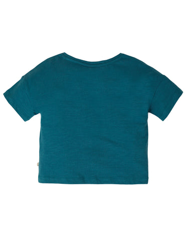 Image of Frugi Myla T-Shirt - Steely Blue/Flower