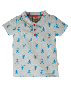 Frugi Penwith Polo Shirt - Grey Marl Lobster