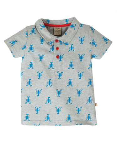 Image of Frugi Penwith Polo Shirt - Grey Marl Lobster