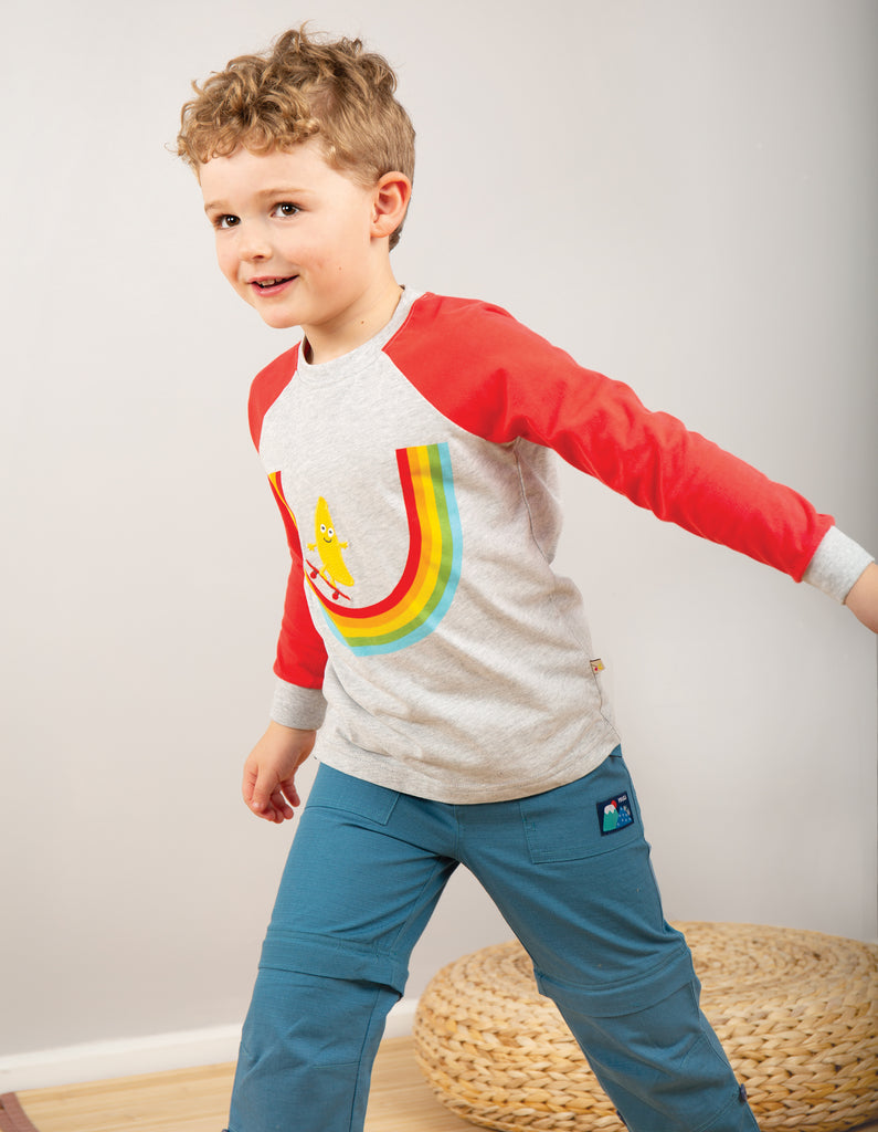 Frugi Rainbow Raglan Top - Grey Marl/Rainbow