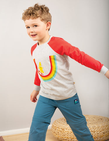 Image of Frugi Rainbow Raglan Top - Grey Marl/Rainbow