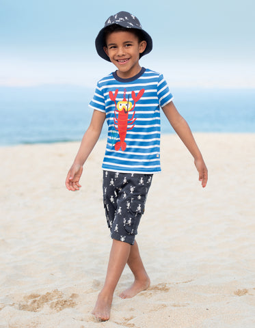 Image of Frugi Sid Applique T-Shirt - Motosu Blue Stripe/Lobster