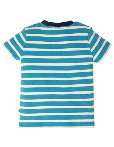Frugi Sid Applique T-Shirt - Motosu Blue Stripe/Lobster