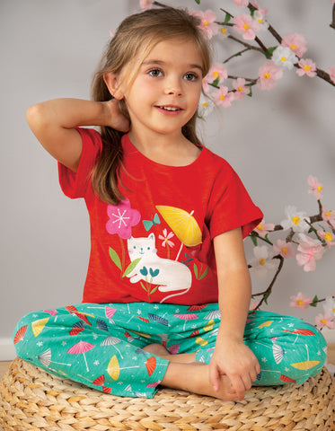 Image of Frugi Sophia Slub T-Shirt - Koi Red/Cat