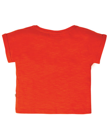 Frugi Sophia Slub T-Shirt - Koi Red/Cat