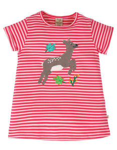 Frugi Sophie Applique Top - Watermelon Stripe/Deer