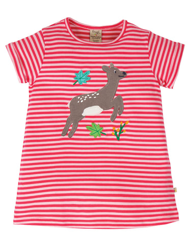 Image of Frugi Sophie Applique Top - Watermelon Stripe/Deer