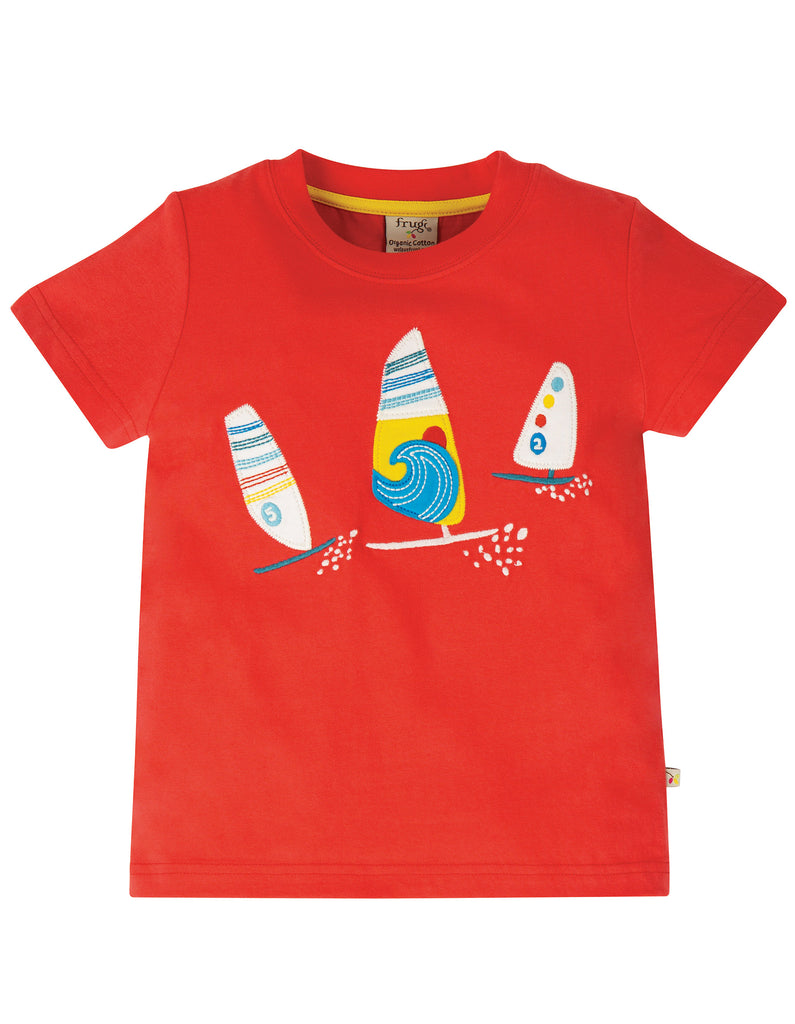 Frugi Stanley Applique T-shirt - Koi Red/Boats