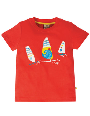Image of Frugi Stanley Applique T-shirt - Koi Red/Boats