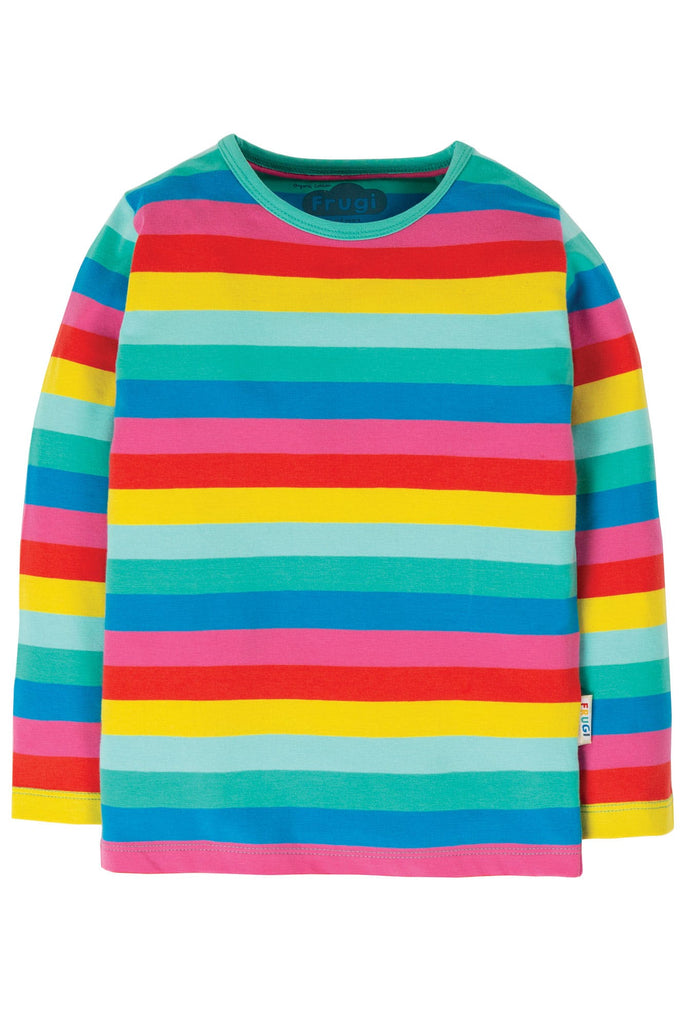 Frugi Everything Long Sleeve Top - Flamingo Multi Stripe