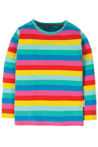 Image of Frugi Everything Long Sleeve Top - Flamingo Multi Stripe