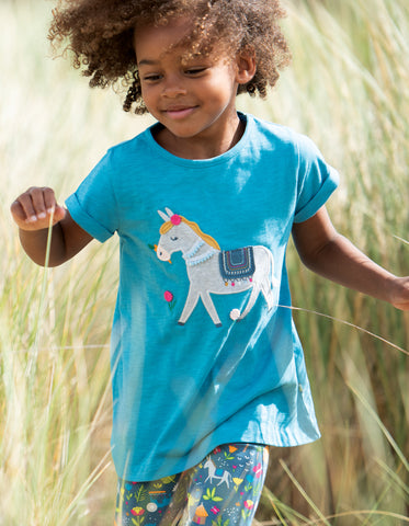 Image of Frugi Ariella Applique Top - Sea Blue/Donkey